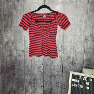 Switchblade Stiletto Dame Tie PINK BLACK Striped Shirt ROCKABILLY SZ M NWT